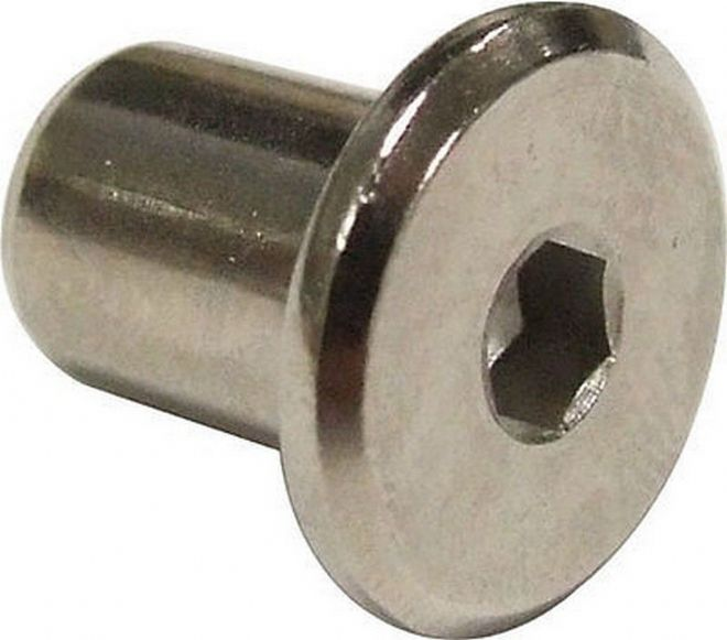 NEW Pack of 6 x 6mm Furniture Sleeve Nuts - Bed Bolt Fittings NICKEL coloured
